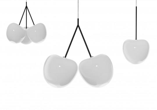Cherry Lamp White : Suspension avec des cerises blanches