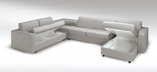 Canap d 39 angle convertible design avec un vrai lit for Canape convertible avec un vrai matelas