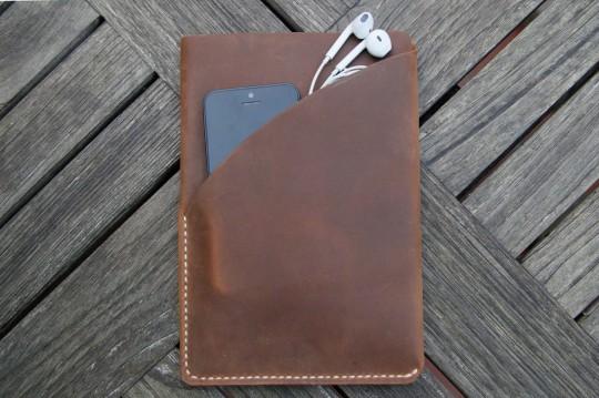 Housse de protection en cuir brun pour iPad mini