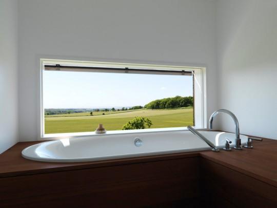 Une baignoire avec une vue extérieure magnifique