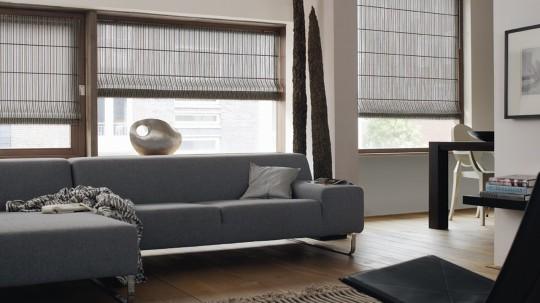 Store en tissu gris Luxaflex