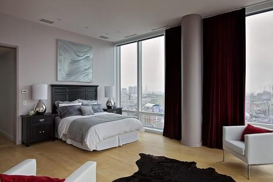 Chambre contemporaine avec vue imprenable sur Manhattan