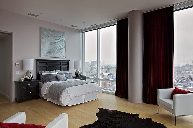 Chambre contemporaine avec vue imprenable sur manhattan for Chambre contemporaine chic