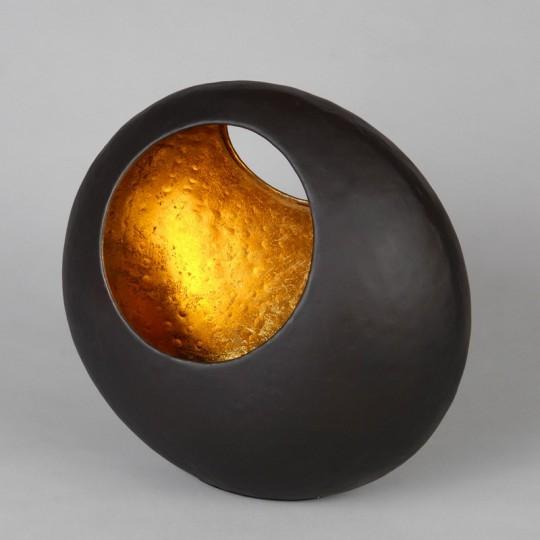 Coupe corbeille à fruits noir mat et dorée Casbah