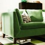 Canapé en tissu vert Ikea Stockholm
