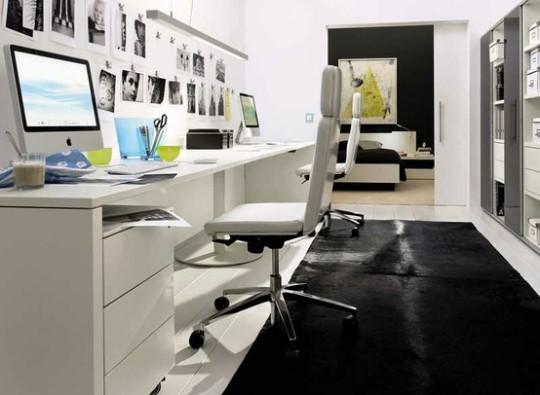 Inspiration déco : Un bureau comtemporain noir et blanc