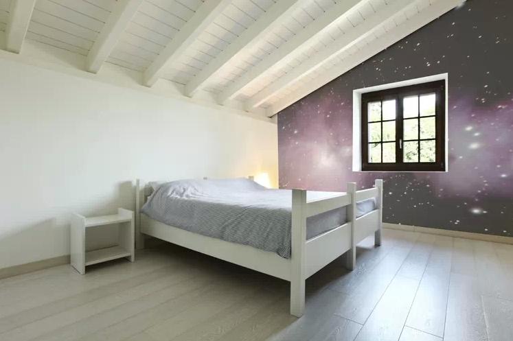 papier peint vue de l 39 espace dans une chambre. Black Bedroom Furniture Sets. Home Design Ideas