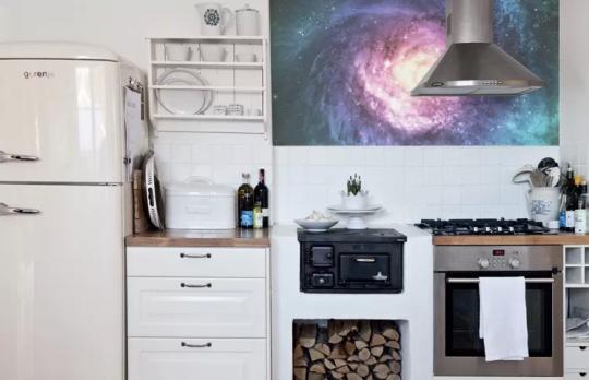 Papier-peint vue de l'Espace dans la cuisine