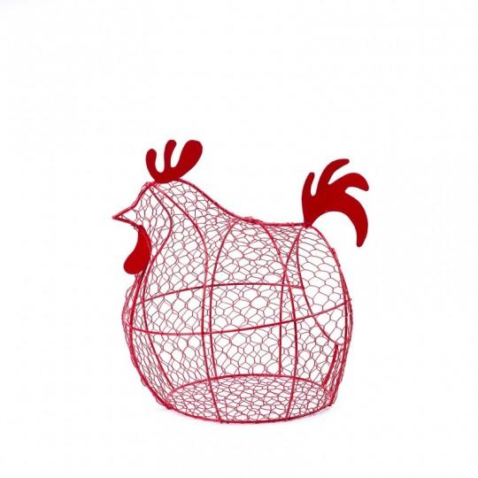 Poule en métal grillagé rouge pour ranger les oeufs (Silea)
