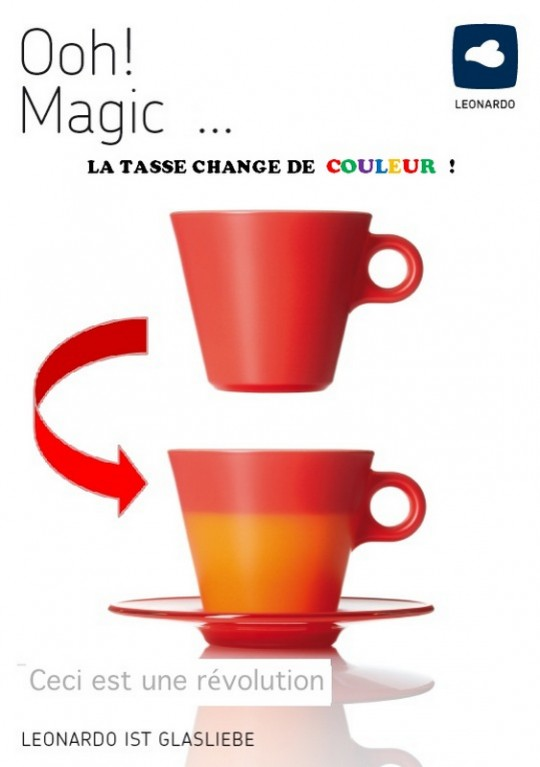 tasse leonardo magico la tasse qui change de couleur avec la chaleur. Black Bedroom Furniture Sets. Home Design Ideas