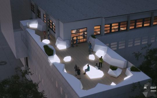 La terrasse de l'école 42 à Paris