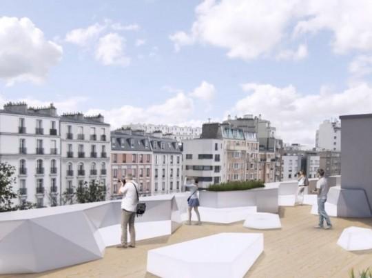 Vue tu toit terrasse de l'école 42 à Paris