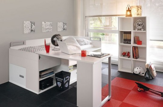 Children's bed with integrated desk Dimix Gautier