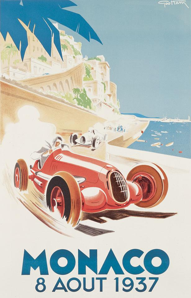 Affiche vintage Monaco 1937 par Geo Ham