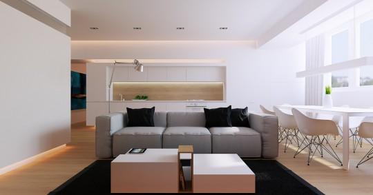 Canapé design très moelleux avec des lignes cubiques en tissu gris clair