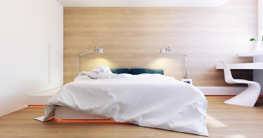 Chambre contemporaine avec un mur recouvert de bois clair for Deco chambre contemporaine