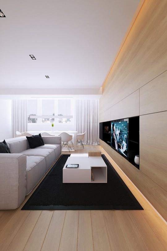 Meuble TV contemporain en bois réalisé sur mesure dans l'appartement 100M