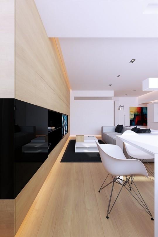 Meuble TV intégré dans l'appartement 100M