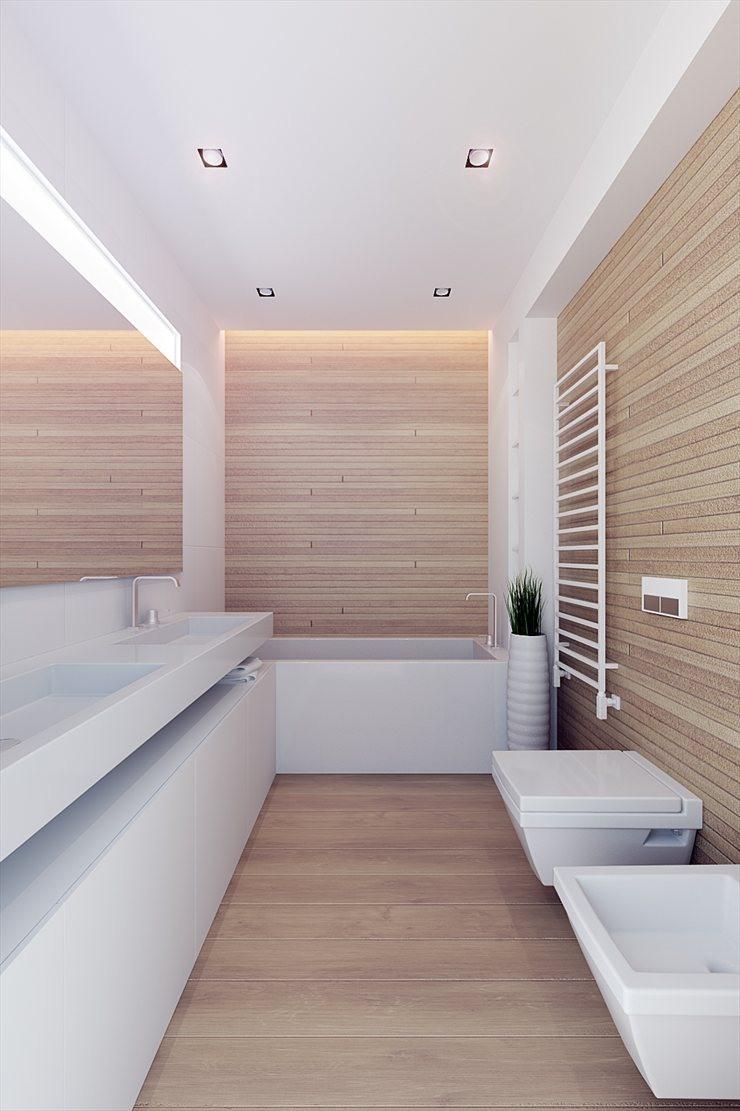 Salle de bain contemporaine avec meubles vasques blanc et for Salle de bain longueur