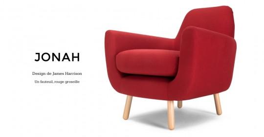Fauteuil rétro futuriste rouge Jonah