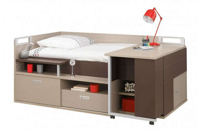 lit pour adolescent avec de nombreux rangements et un bureau int gr. Black Bedroom Furniture Sets. Home Design Ideas