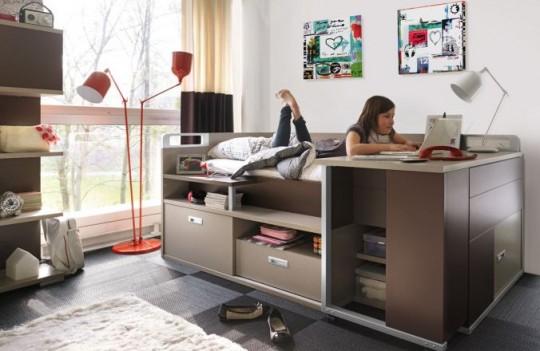 Lit pour adolescent avec de nombreux rangements et un bureau int gr for Petit bureau chambre ado