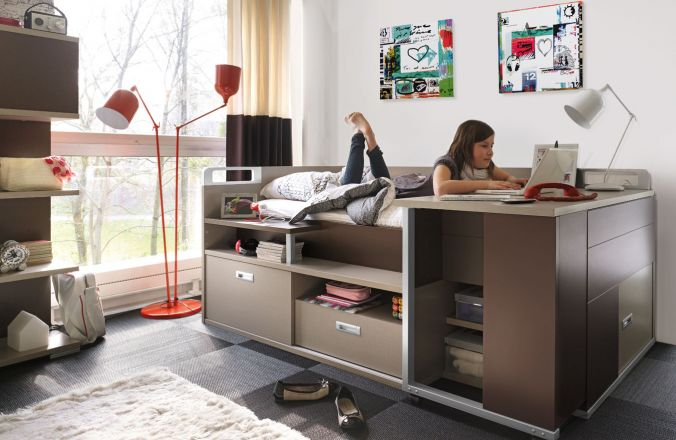 lit pour adolescent avec rangement et bureau dimix gautier. Black Bedroom Furniture Sets. Home Design Ideas