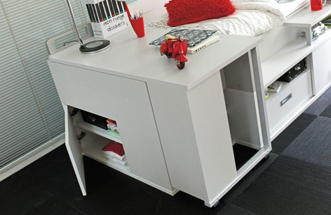 lit pour adolescent avec des rangements int gr s gautier dimix. Black Bedroom Furniture Sets. Home Design Ideas