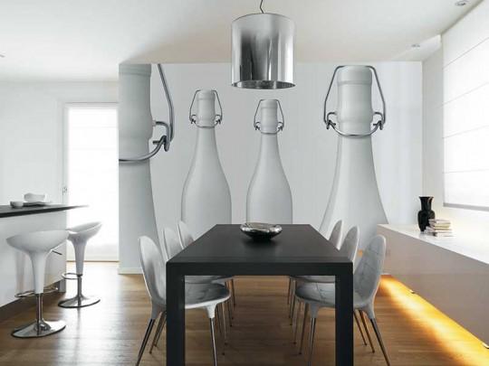 Wallpaper Purity avec des bouteilles de lait géantes Inkiostro Blanco
