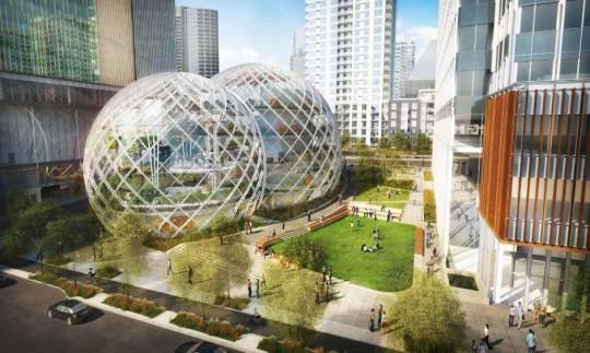 3 boules en verre géante pour le nouveau siège d'Amazon à Seattle
