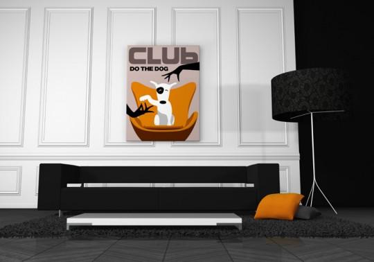Tableau rétro avec un chien Club do the Dog by Qora & Shai