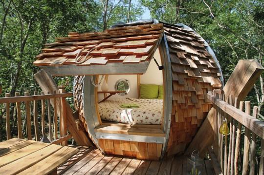 Cabane ronde dans un arbre
