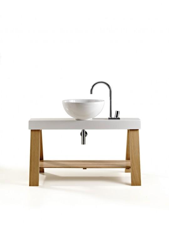 Vasque céramique blanche sur meuble de salle de bain en bois CAVALLETTO