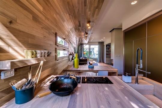 Appartement cosy Tel Aviv - Cuisine américaine tout en bois