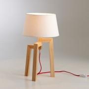 Lampe en bois avec fil constrastant rouge