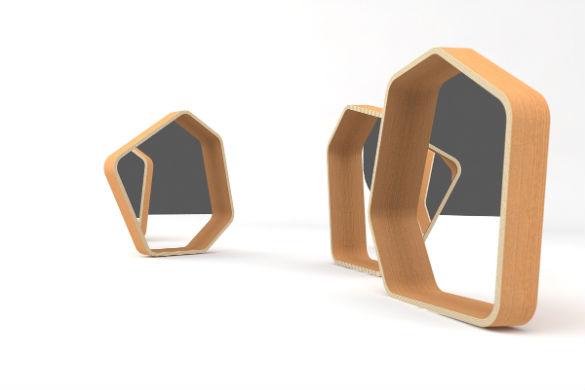 Miroir polygone 5 cot s avec un cadre en ch ne par la for Miroir avec cadre miroir