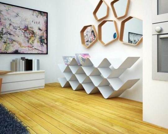 Miroirs 5 et 6 cotés design avec un cadre en bois