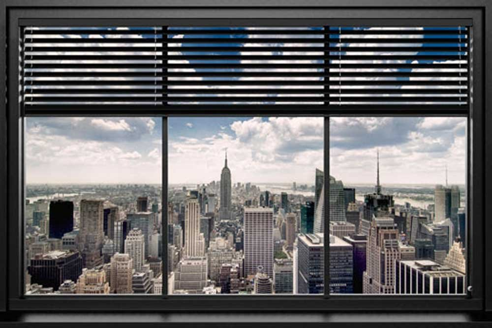 poster fen tre vue sur new york. Black Bedroom Furniture Sets. Home Design Ideas