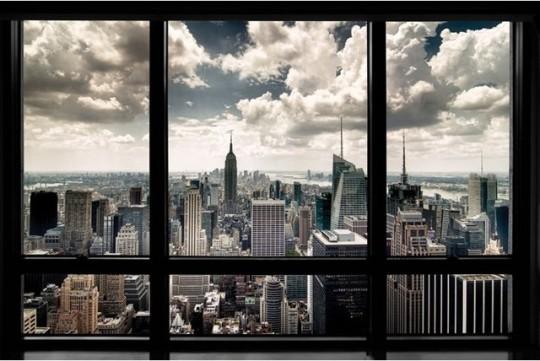 Poster vue sur la skyline de New-York (trompe-l'oeil)