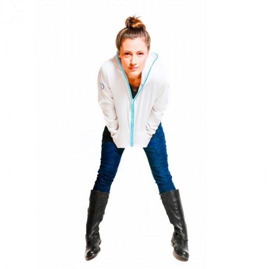 Sweashirt femme blanc avec néon bleu