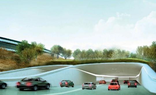 Apple Campus Cupertino - entrée du parking souterrain