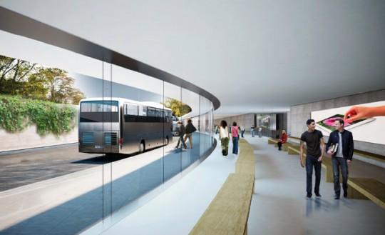 Apple Campus Cupertino - salle d'attente bus