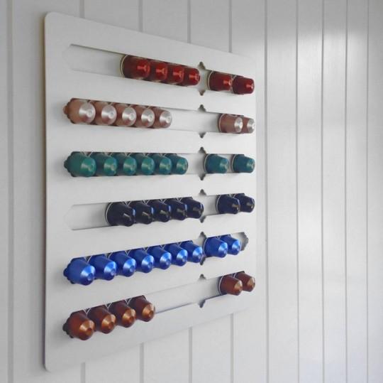 Range capsules de café Nespresso mural