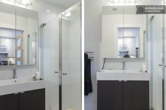 Airbnb salle de bain dans un studio à Montréal