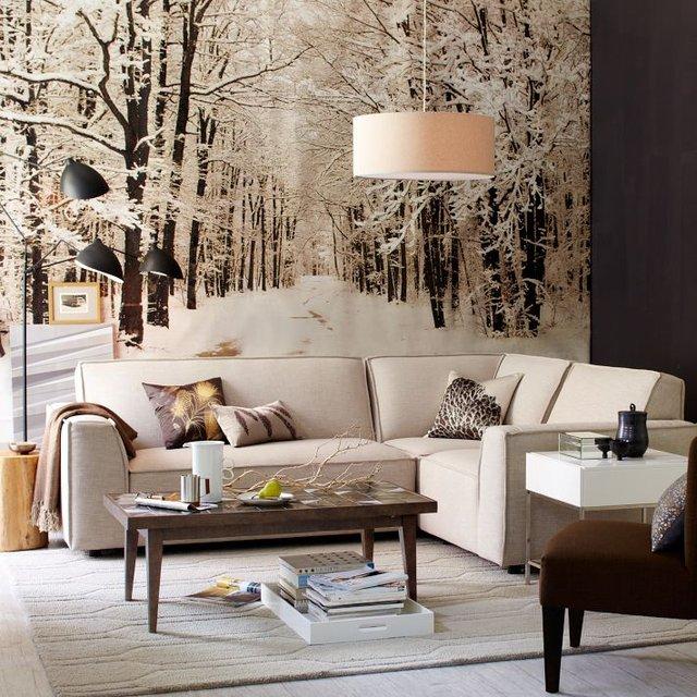 papier peint photo d 39 une for t sous la neige. Black Bedroom Furniture Sets. Home Design Ideas