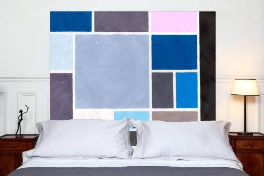 Tête de lit Poudre bleu carré - Mademoiselle Tiss