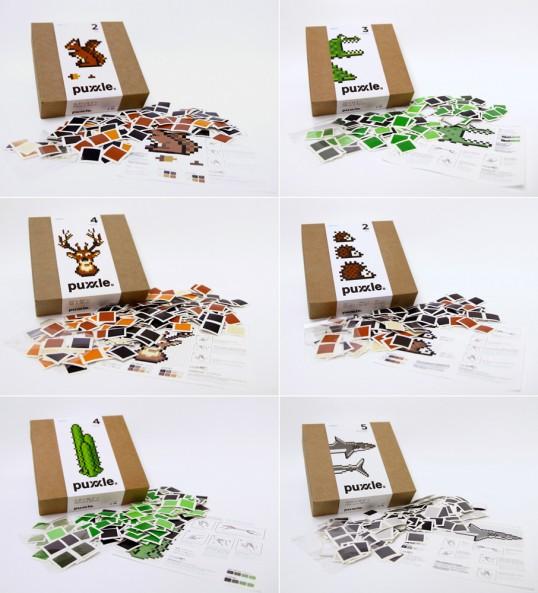 6 boites de puzzles pixellisés Puxxle