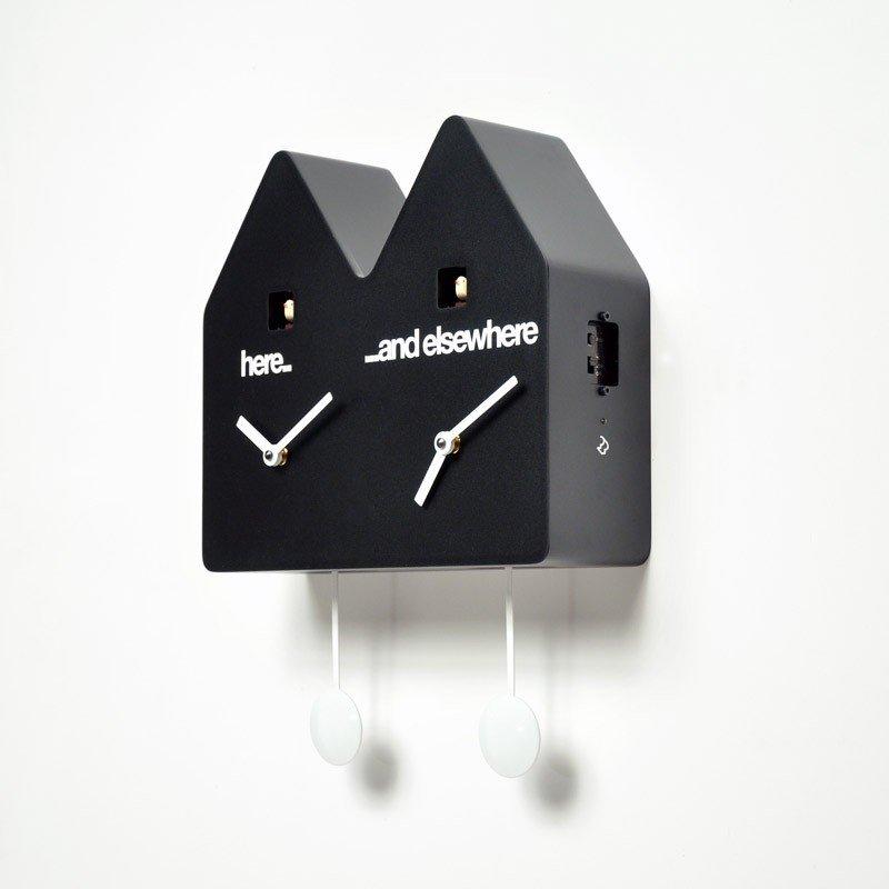 horloge double coucou contemporaine. Black Bedroom Furniture Sets. Home Design Ideas