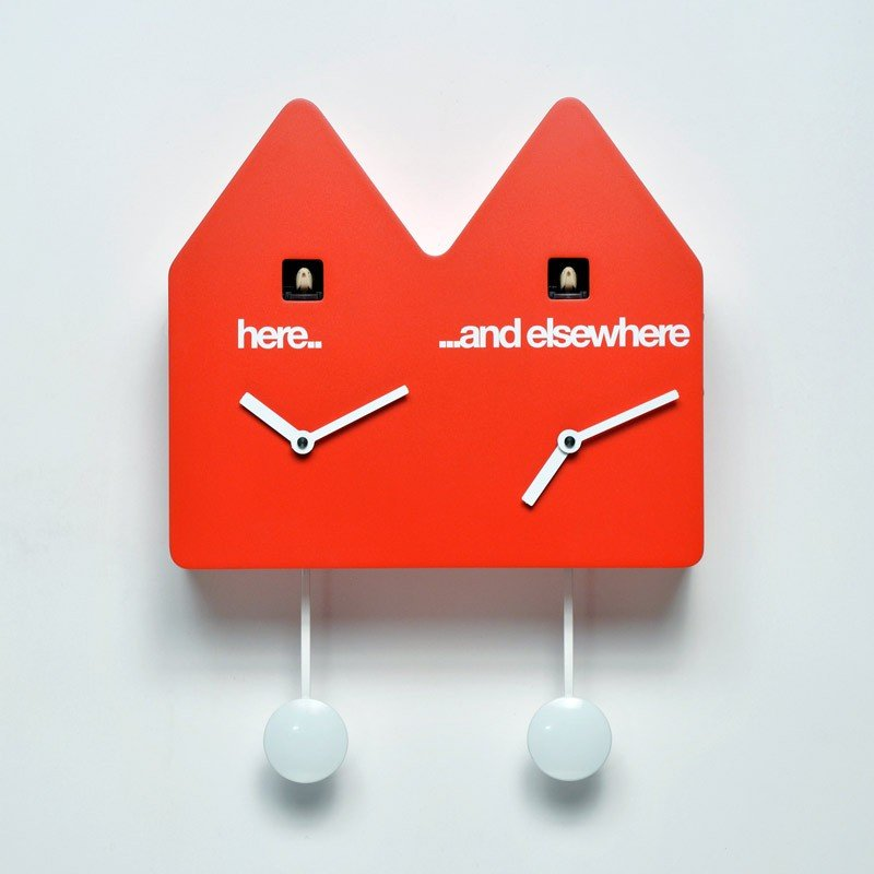 horloge double coucou design. Black Bedroom Furniture Sets. Home Design Ideas