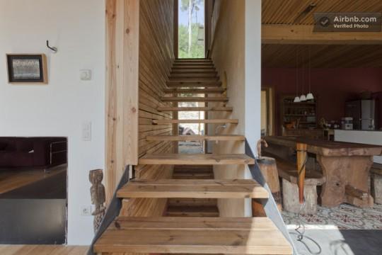 Maison du 19ème siècle - escalier en bois contemporain sans contre-marches